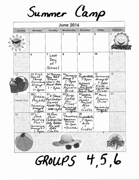 Sample Summer Camp Schedule Fresh Sample Summer Camp Schedule