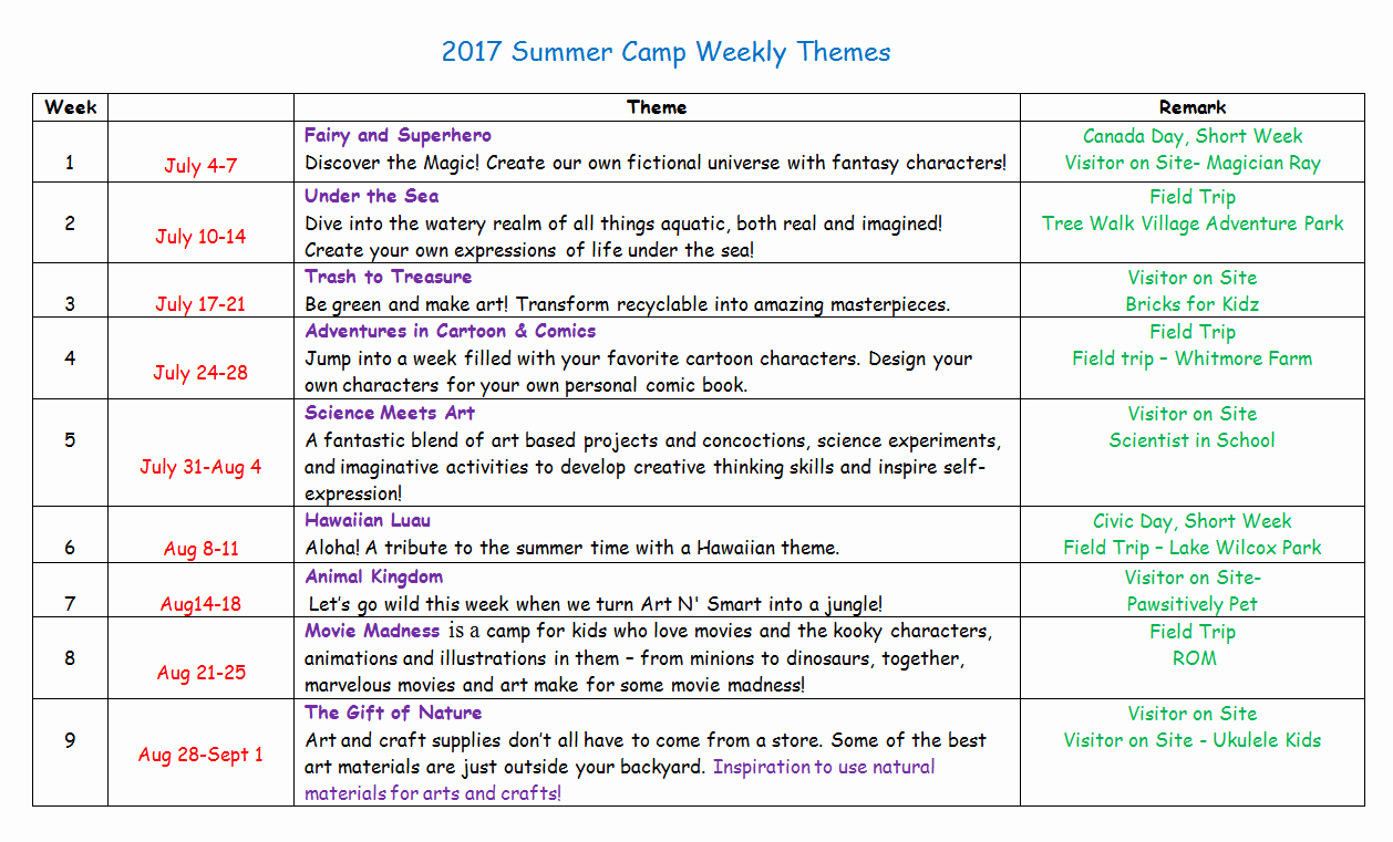 Sample Summer Camp Schedule Luxury Summer Camp Weekly Sample Schedule