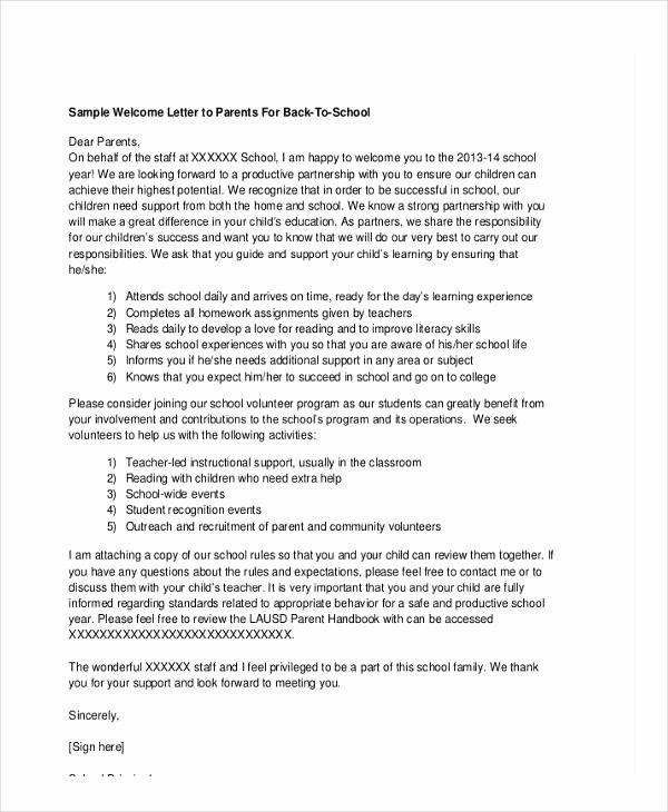 Sample Volunteer Recruitment Letter Fresh School Letter Templates 8 Free Sample Example format