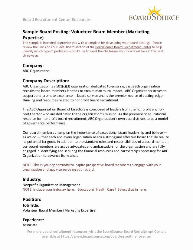 Sample Volunteer Recruitment Letter Unique Volunteer Board Member Marketing Expertise