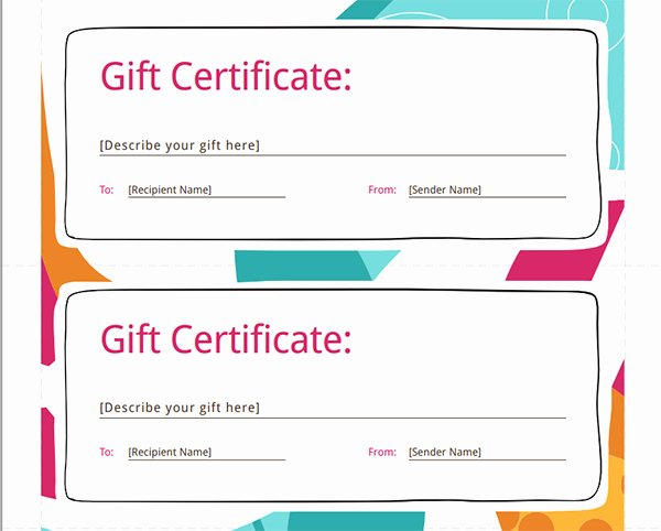 Samples Of Gift Certificate Beautiful Printable Gift Certificate Templates