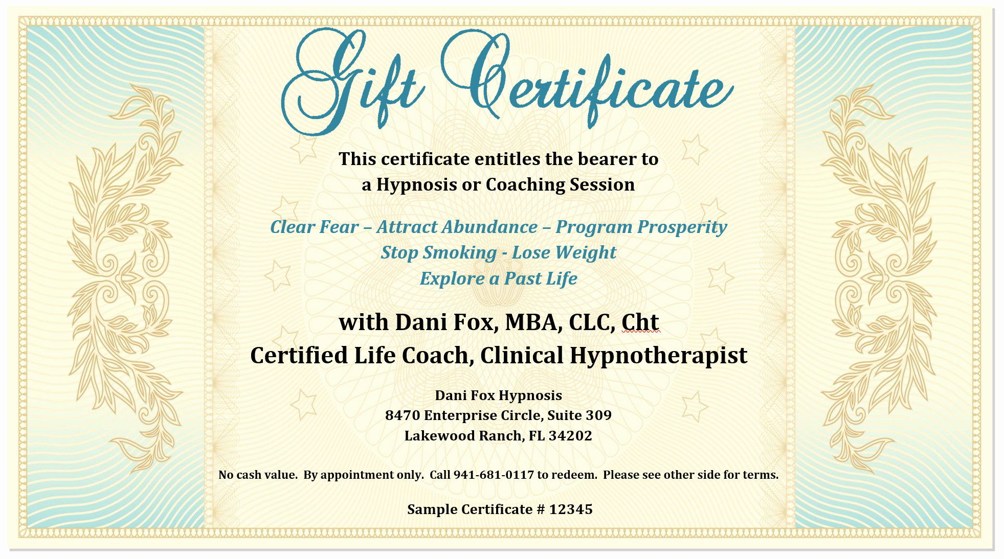 Samples Of Gift Certificate Lovely Gift Certificate Dani Fox Hypnosis