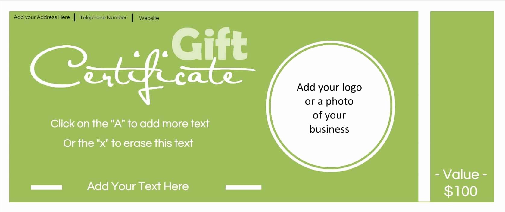 Samples Of Gift Certificate New Gift Certificate Template with Logo