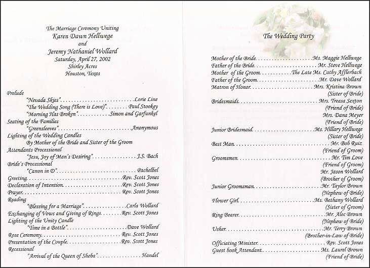 Samples Of Wedding Programs Awesome Wedding Collection nowadays Wedding Program Wording