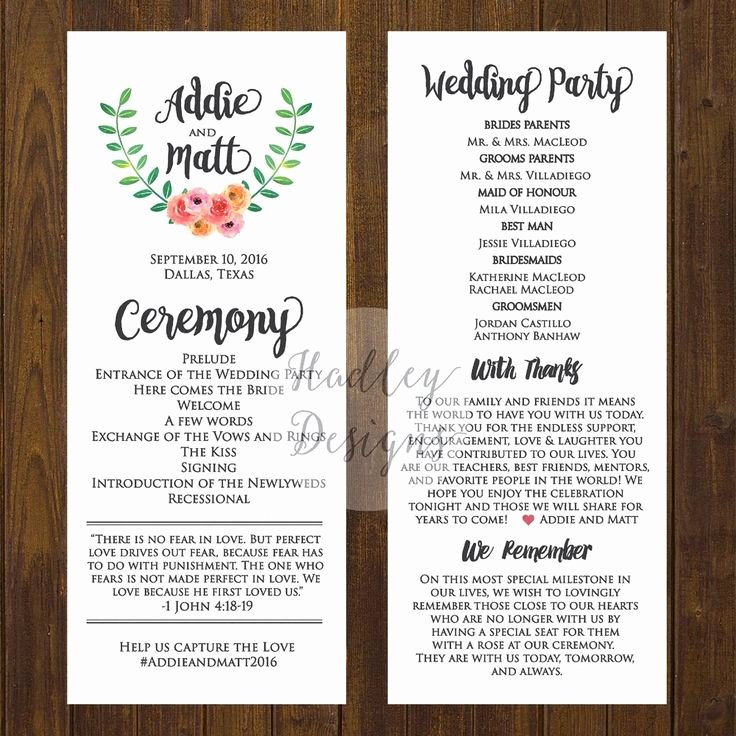 Samples Of Wedding Programs Elegant Wedding Programs Wedding Ceremony Programs Wedding Program Ideas Sample… …