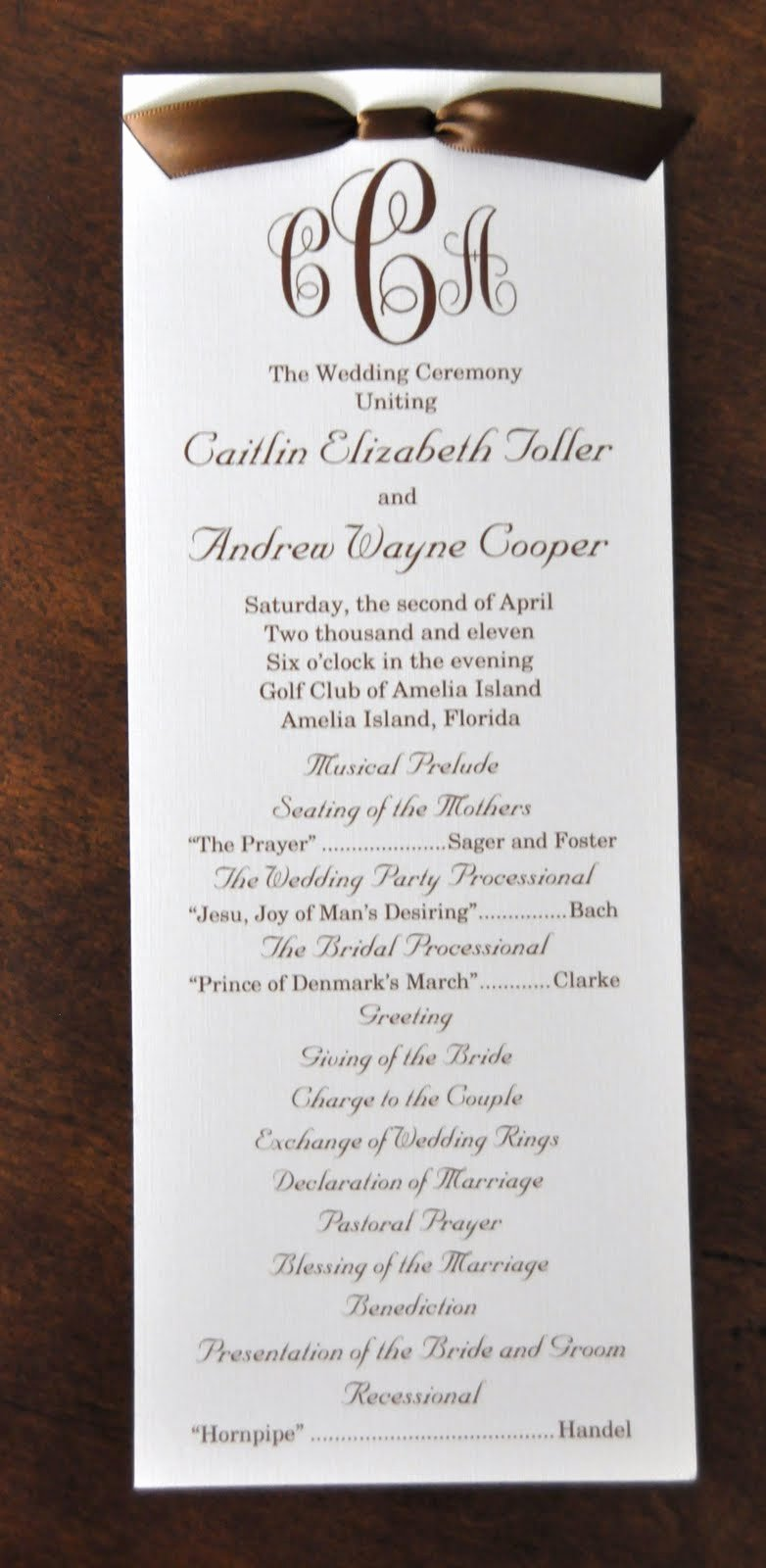 Samples Of Wedding Programs Lovely Sample Wedding Programs Caitlin andrew Wedding Programs