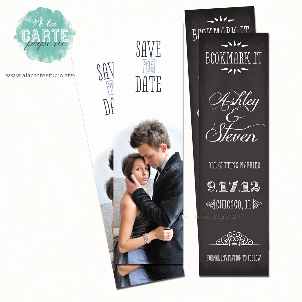 Save the Date Bookmarks Awesome Save the Date Bookmark Chalkboard Save the Date by Alacartepaperie