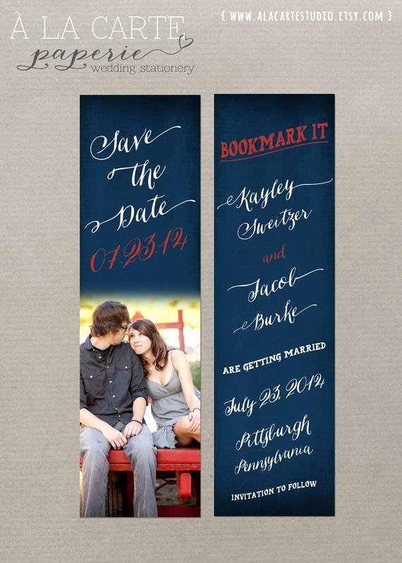 Save the Date Bookmarks Elegant Navy Chalkboard Save the Date Bookmark 8 by Alacartepaperie