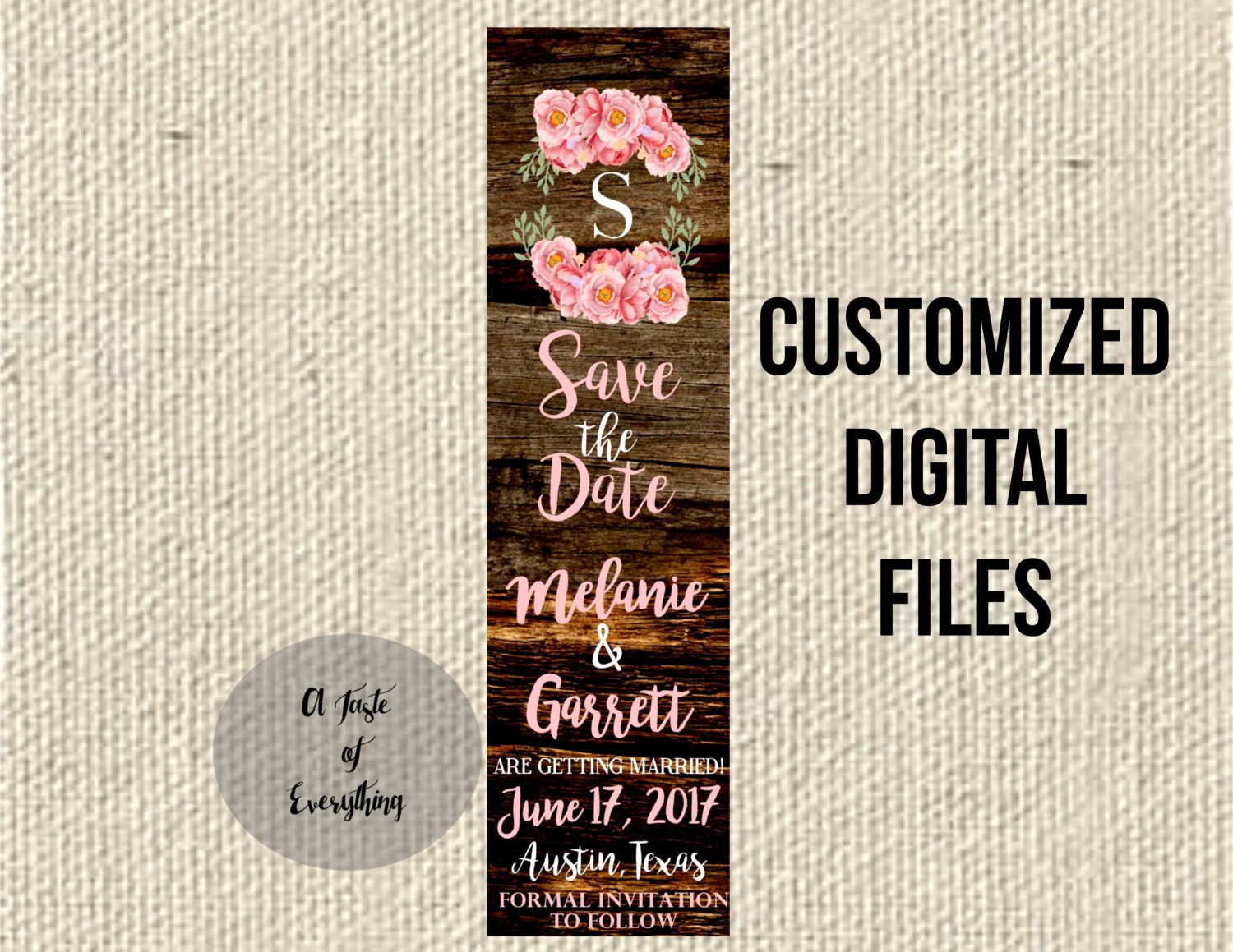 Save the Date Bookmarks Inspirational Save the Date Bookmark Wedding Flowers Digital Files Printable