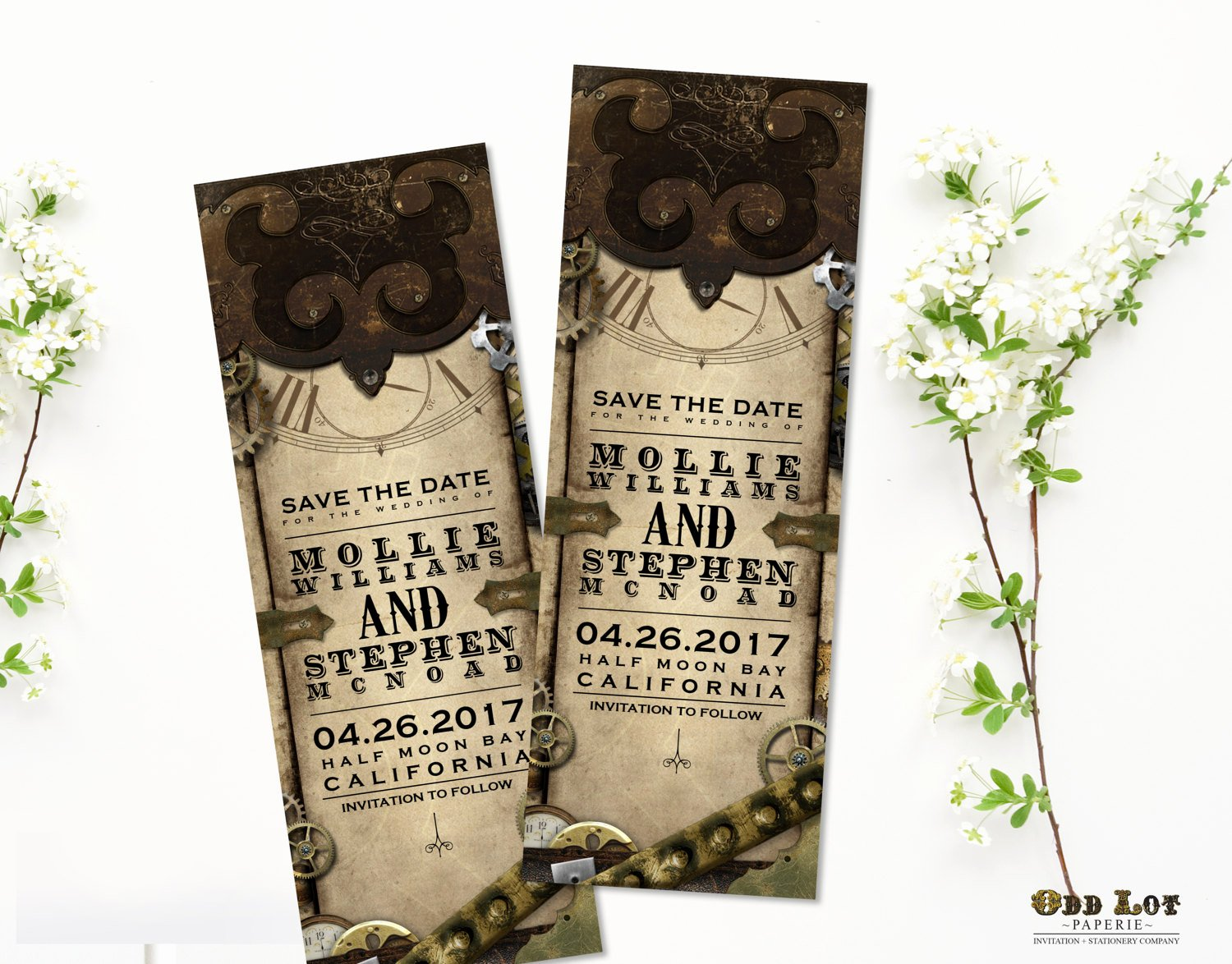 Save the Date Bookmarks Lovely Steampunk Save the Date Bookmark Announcement Steampunk