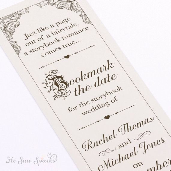 Save the Date Bookmarks New Fairytale Bookmark Save the Date Diy Printable