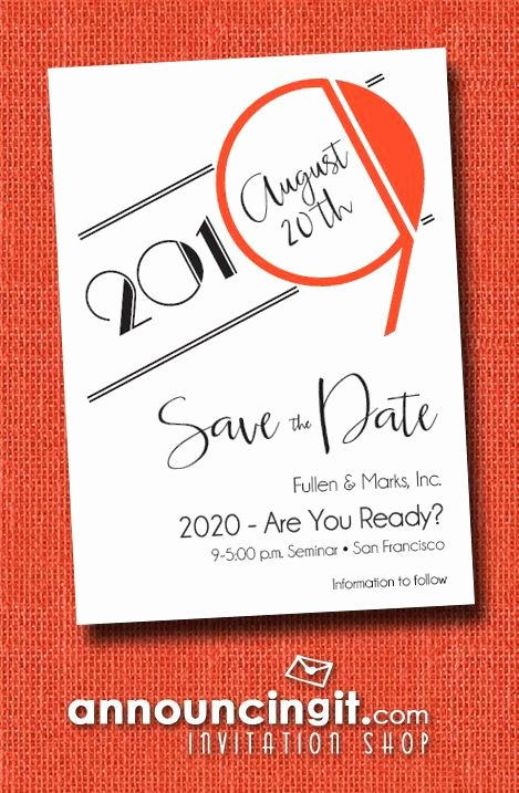 Save the Date Business event Unique Art Deco orange Business Save the Date Cards In 2019