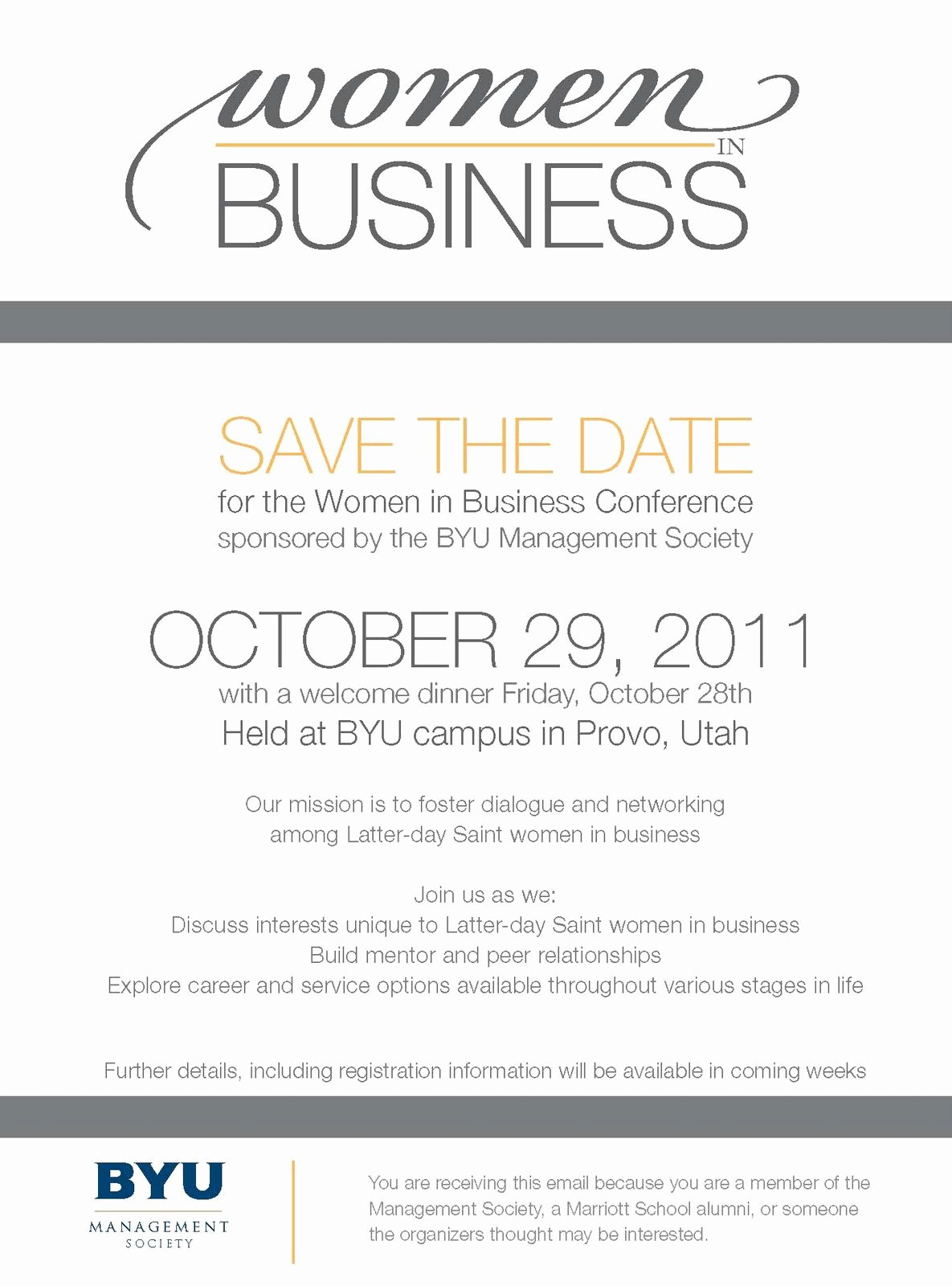 Save the Date Corporate event Beautiful the Snyder S July 2011