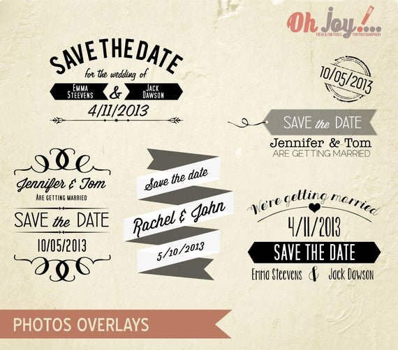 Save the Date Templates Photoshop Beautiful Instant Download Save the Date Overlays by Ohjoyshop