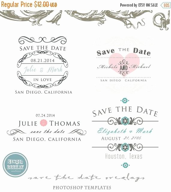 Save the Date Templates Photoshop Best Of On Sale Shop Save the Date Overlays Wedding by Studiobeekay