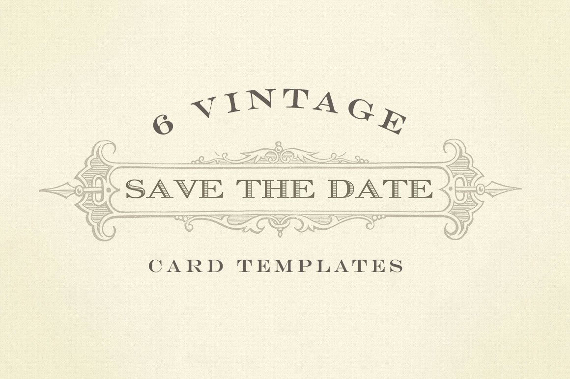 Save the Date Templates Photoshop Lovely Vintage Save the Date Graphics Card Templates On Creative Market