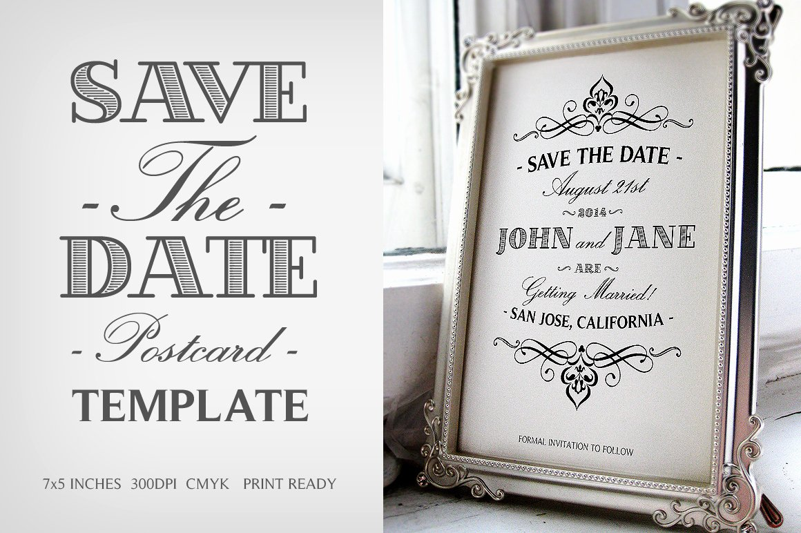 Save the Date Templates Photoshop New Save the Date Postcard Template V 1 Invitation Templates On Creative Market