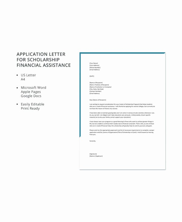 Scholarship Application Template Word Best Of Scholarship Letter Template 11 Free Sample Example format Download