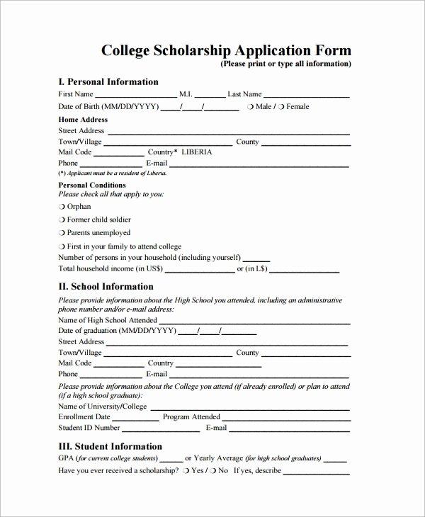Scholarship Application Template Word Elegant Sample Scholarship form 8 Documents In Pdf Word