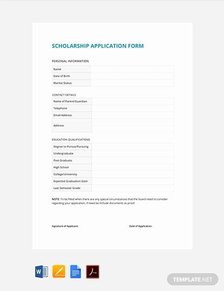 Scholarship Application Template Word Fresh 69 Free form Templates Pdf Word Excel Google Docs Apple Pages Google Sheets