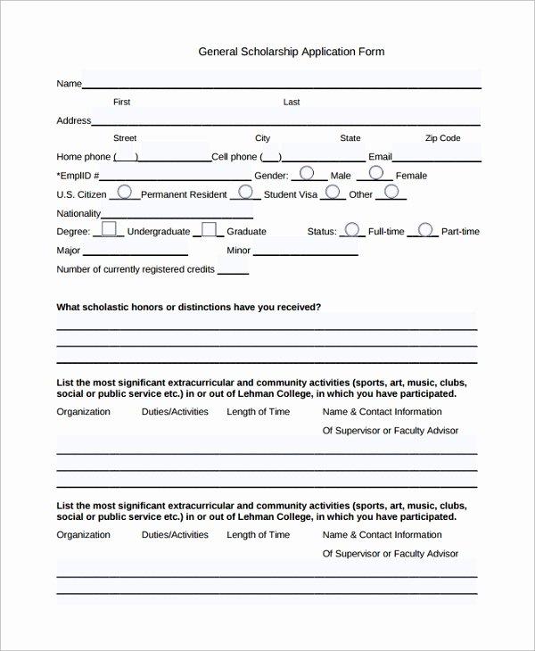 Scholarship Application Template Word Fresh Sample Scholarship Application form 7 Documents In Pdf Word