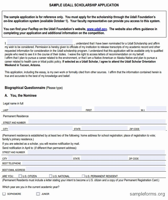 Scholarship Application Template Word Fresh Scholarship Application format Sample forms