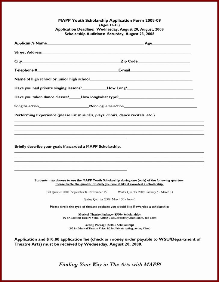 Scholarship Application Template Word Fresh Scholarship Application Templates
