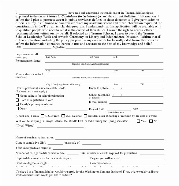 Scholarship Application Template Word Lovely 13 Scholarship Application Templates Pdf Doc