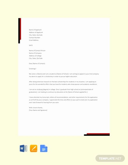 Scholarship Application Template Word New Free Scholarship Application Letter Template Pdf Word Google Docs Apple Pages