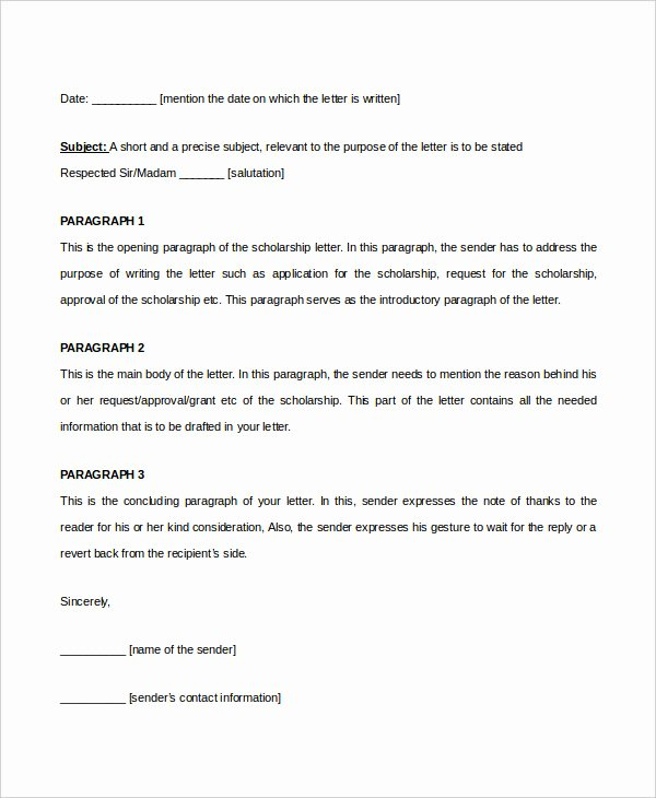 Scholarship Award Letter Samples Best Of Scholarship Letter Template 11 Free Sample Example format Download
