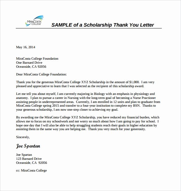 Scholarship Award Letter Samples Elegant Free 13 Sample Scholarship Thank You Letters In Doc