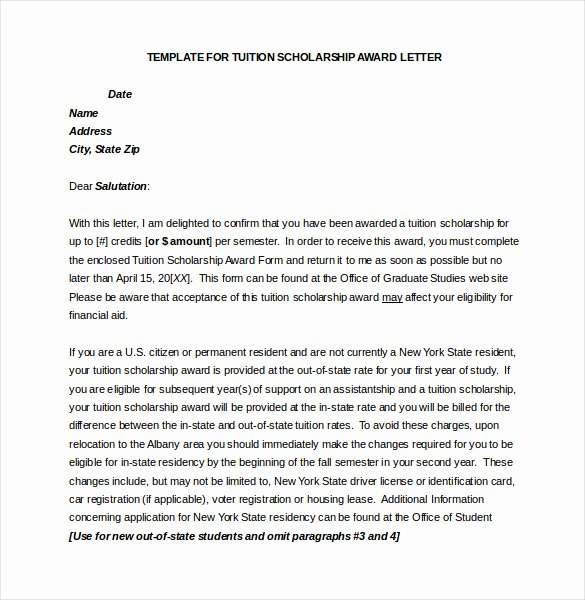 Scholarship Award Letter Samples Inspirational 13 Award Letter Templates Pdf Doc