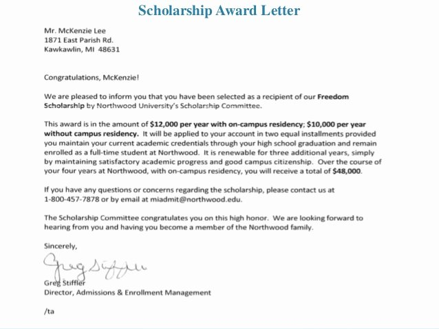 Scholarship Award Letter Samples Inspirational Career Development Portfolio