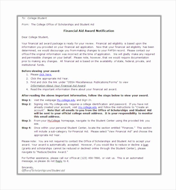 Scholarship Award Letter Templates Beautiful 13 Award Letter Templates Pdf Doc