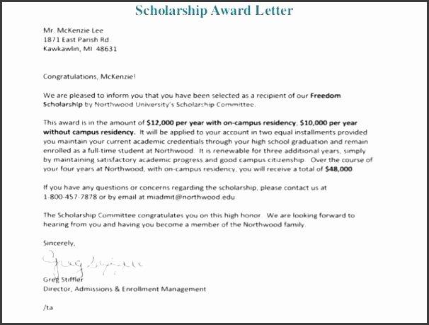 Scholarship Award Letter Templates Fresh 7 Scholarship Award Letter Template Sampletemplatess Sampletemplatess