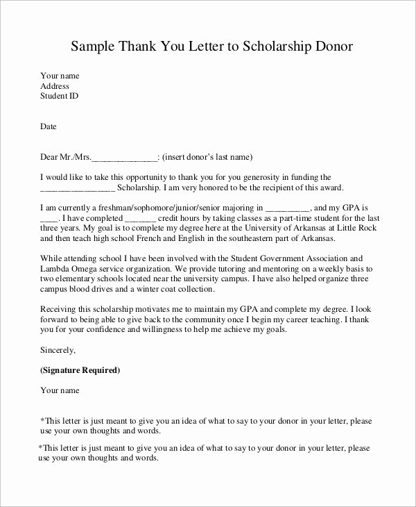 Scholarship Award Letter Templates Lovely Sample Scholarship Thank You Letter 8 Examples In Word Pdf