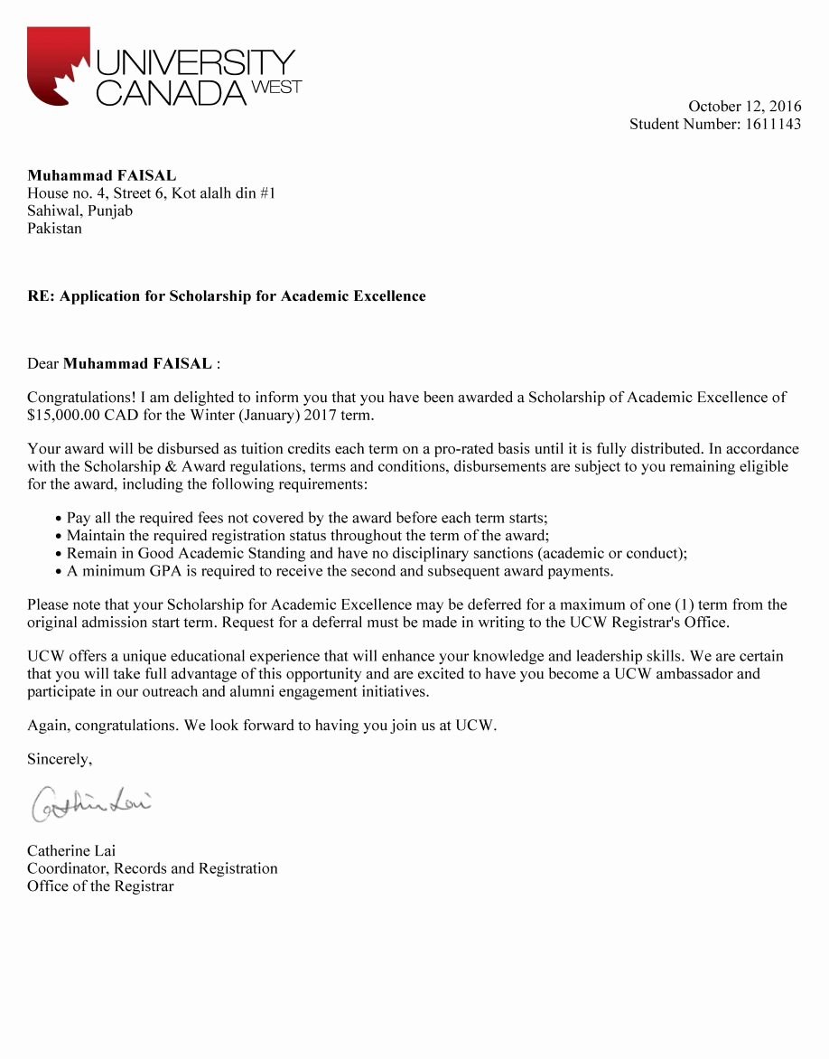 Scholarship Award Letter Templates Unique Scholarship Award Letter to College Template Examples Thank You Sample form High School