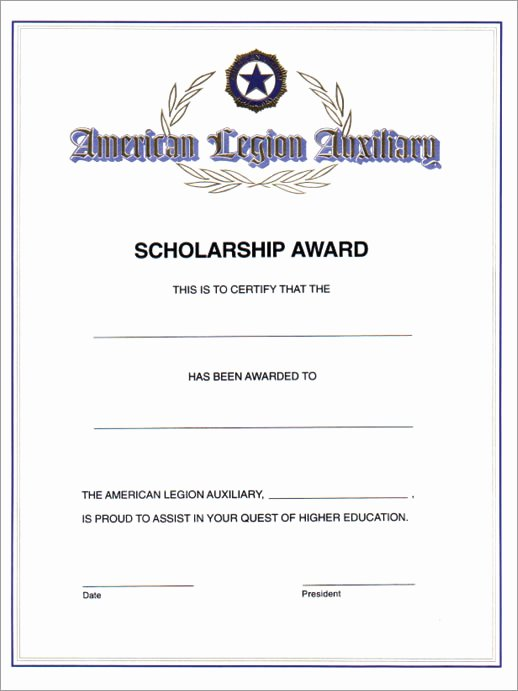 Scholarship Awards Certificates Templates Beautiful Auxiliary Scholarship Award Certificate American Legion Flag & Emblem