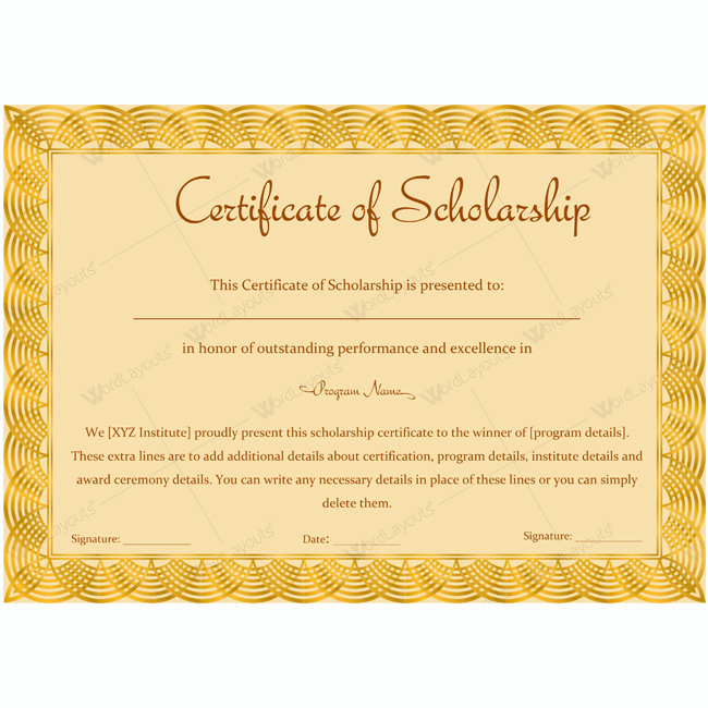 Scholarship Awards Certificates Templates Beautiful Certificate Of Scholarship 12 Certificate Of Scholarship Templates