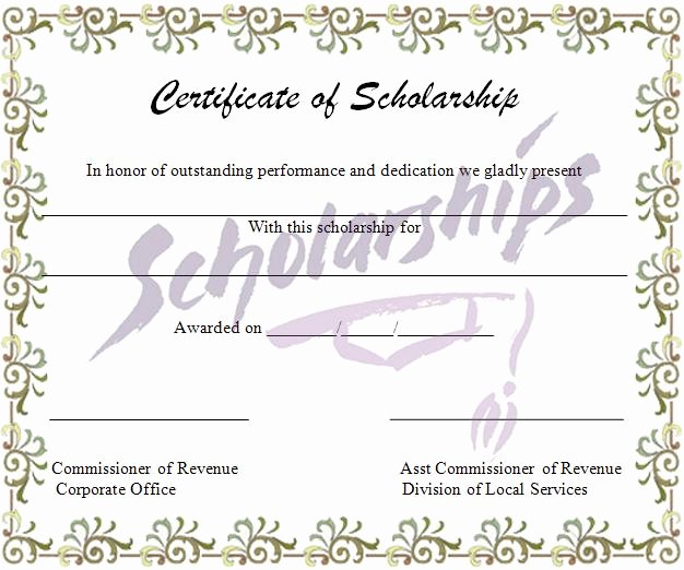 Scholarship Awards Certificates Templates Best Of Certificate Templates