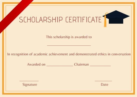 Scholarship Awards Certificates Templates Best Of High School Scholarship Certificate Template Scholarship Certificate Template