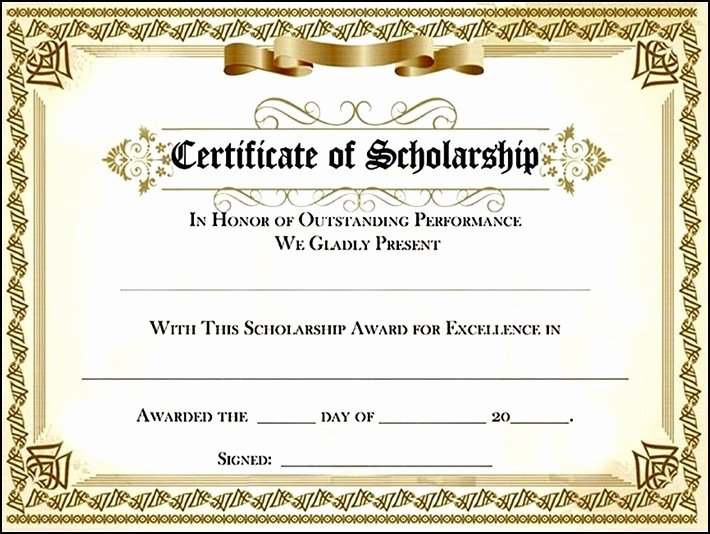 Scholarship Awards Certificates Templates Elegant Scholarship Award Certificate
