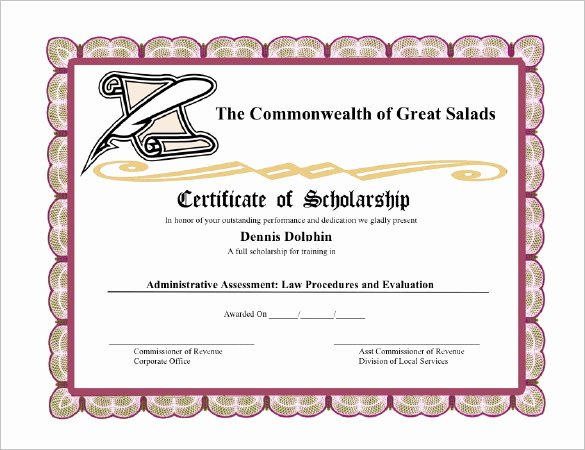 Scholarship Awards Certificates Templates Fresh 7 Scholarship Certificate Templates Word Psd Illustrator In Design Publisher