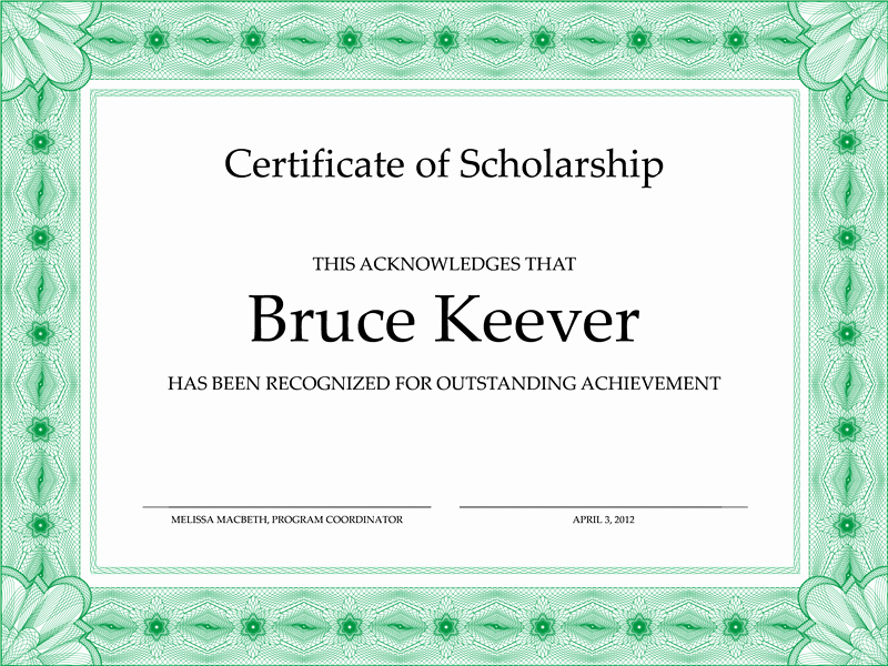 Scholarship Awards Certificates Templates Lovely Certificate Templates