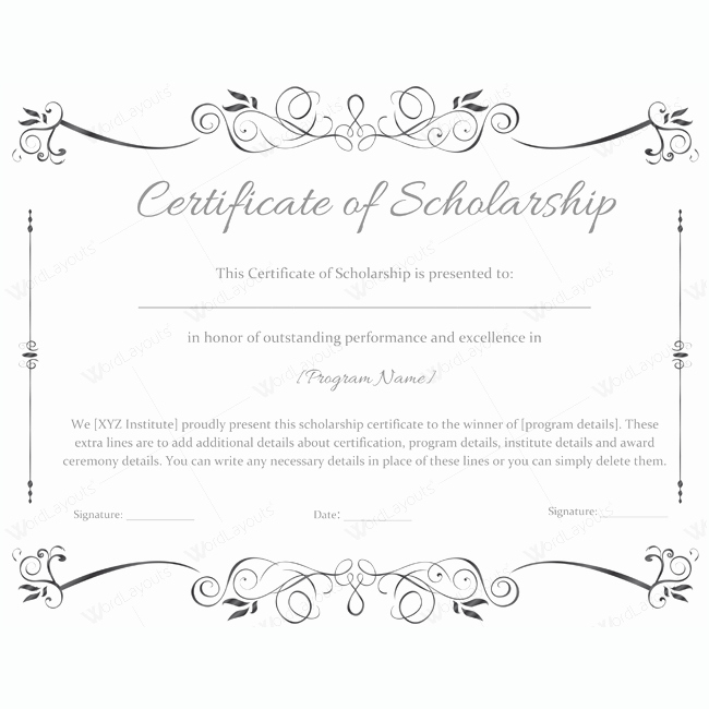 Scholarship Awards Certificates Templates Luxury 89 Elegant Award Certificates for Business and School events