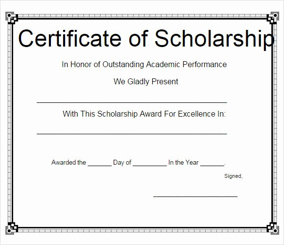Scholarship Awards Certificates Templates Luxury Free 9 Scholarship Certificate Templates In Free Samples Examples format