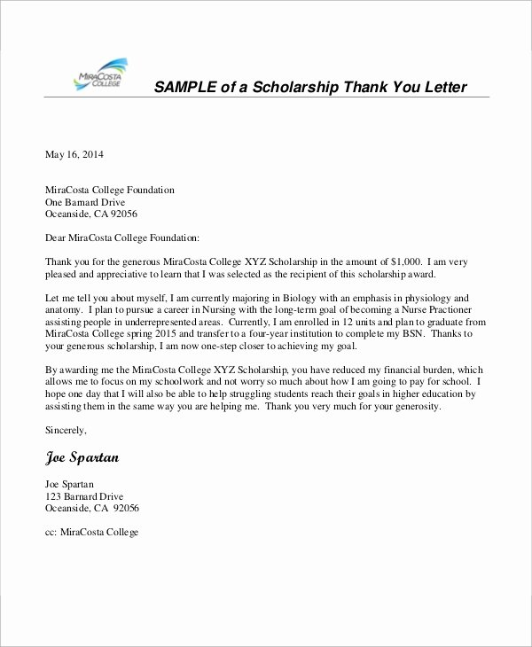 Scholarship Thank You Letter Fresh 8 Sample Nursing Thank You Letter Free Sample Example format Download