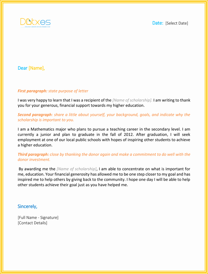 Scholarship Thank You Letter Template Awesome Scholarship Thank You Letter 7 Sample Templates You Should Send