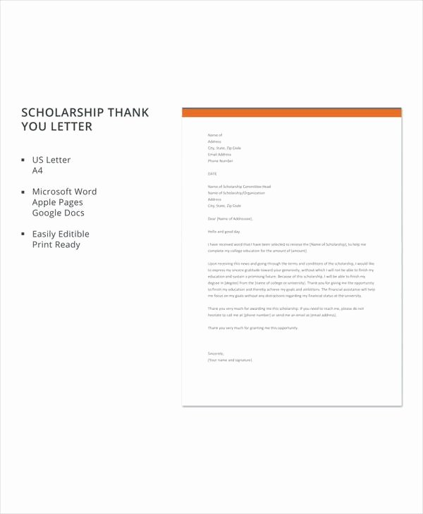 Scholarship Thank You Letter Template Beautiful Free 13 Sample Scholarship Thank You Letters In Doc