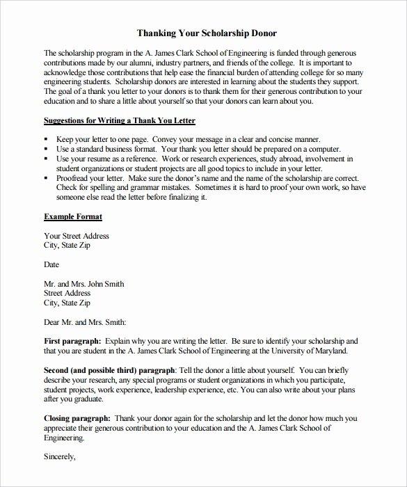 Scholarship Thank You Letter Template Elegant Pomona College Cdo Cover Letter
